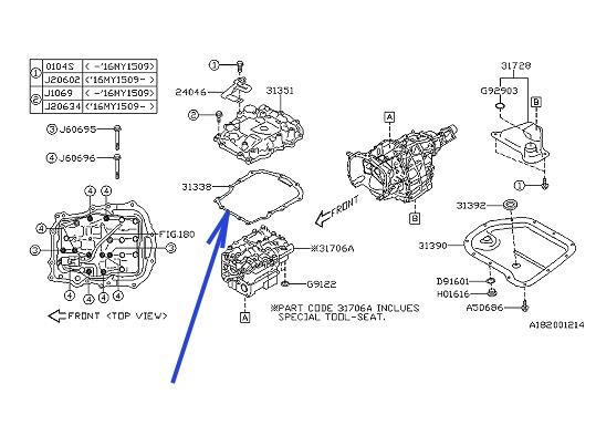 2012-2019 Subaru Gasket Transmission Cover 31338AA020