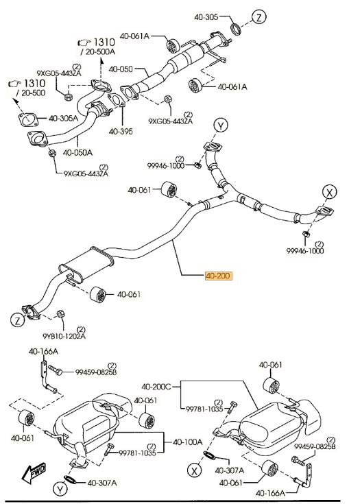 2007-2009 Mazda CX-9 Muffler & Pipe, REAR CY03-40-300D
