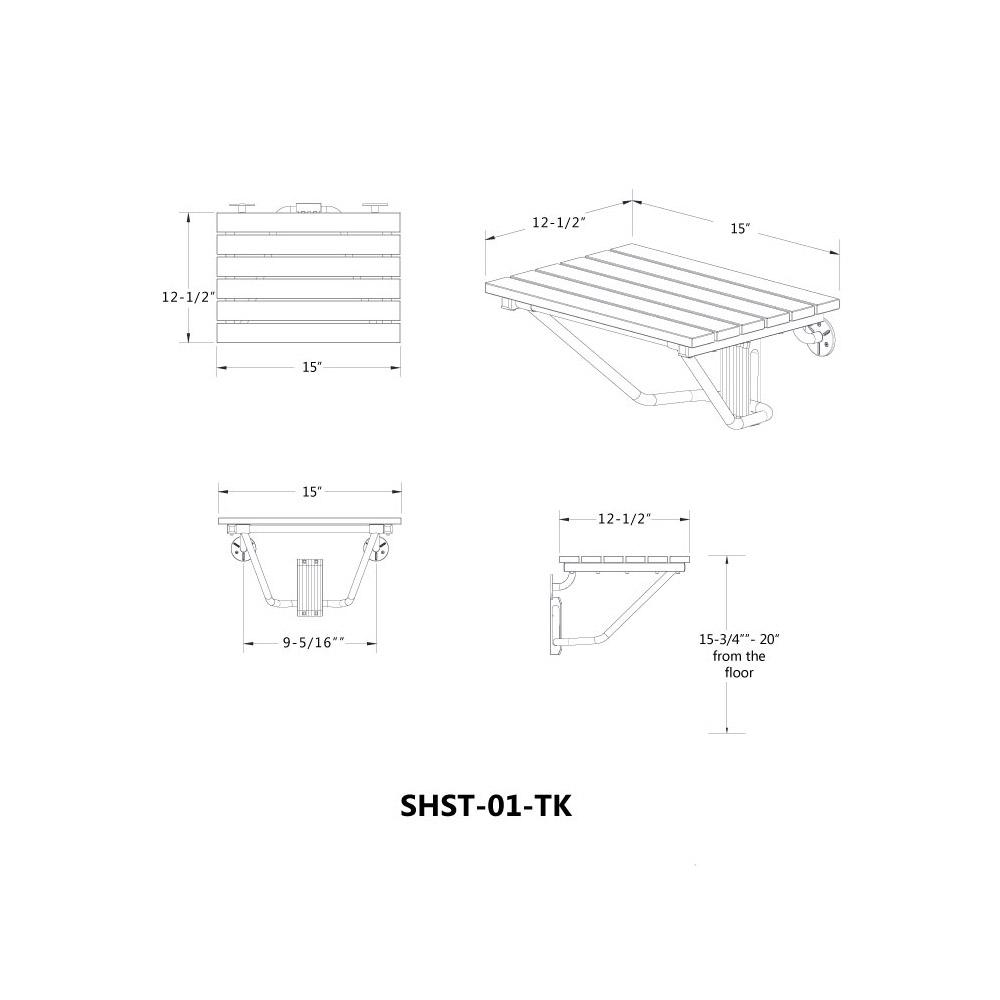 DreamLine Folding Shower Seat Natural Teak Wood SHST01TK