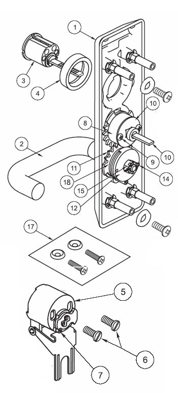 Yale AU626F Escutcheon and Lever with Less Cylinder