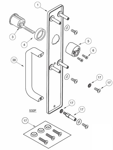 Yale 632F Escutcheon and Pull with Less Cylinder
