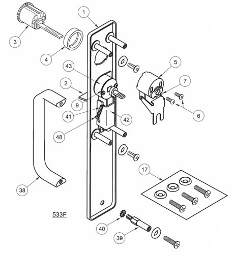 Yale 633F Escutcheon and Pull with Thumbpiece and Less