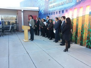 Democrats' pre-session press conference at the South Valley Economic Development Center.