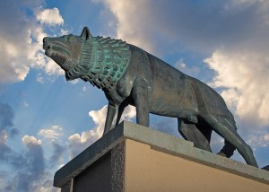 Statue of a Lobo on the University of New Mexico campus. Photo Credit: sumrow cc
