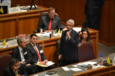 Sen. Clemente Sanchez, D-Grants, during debate on the gaming compact. Photo by Andy Lyman