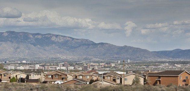 Albuquerque's iconic downtown skyline looks drastic different from certain Westside vantage points marked by new development. Photo by Margaret Wright