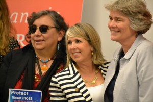 U.S. Rep. Michelle Lujan Grisham with other panelists on a discussion about the environment.  Photo Credit: Andy Lyman