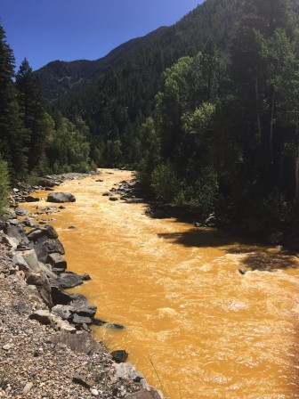 Pollution in the Animas River after the Gold King Mine spill. Wikicommons.