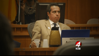 "Screenshot from KOB-TV report on Rep. Antonio ""Moe"" Maestas"