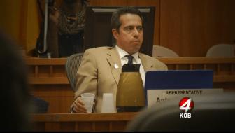 "Screenshot from KOB-TV report on Rep. Antonio ""Moe"" Maestas"