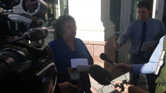 Dianna Duran speaking to the press after her guilty plea in October, 2015.