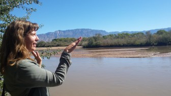 Reporter Laura Paskus at the Rio Grande near Albuquerque. Photo Credit: Andy Lyman