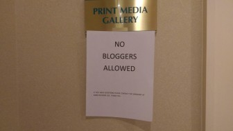 A sign outside the Senate press gallery.