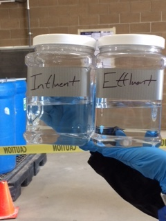 EDB is colorless and basically odorless. The container on the left contains contaminated water as it comes into the treatment plant. The container on the right contains water than has been cleaned of EDB.