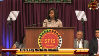A screenshot of Santa Fe New Mexican video of Michelle Obama's commencement speech.