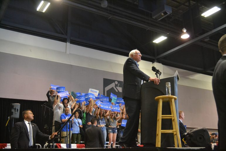 Bernie Sanders speaking at the Albuquerque Convention Center in May 2016.