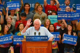 Bernie Sanders speaks at the Santa Fe Community College