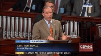 Sen. Tom Udall joins in gun control legislation filibuster.