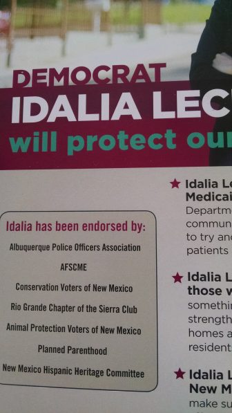 Mailer from Lechuga-Tena claiming an endorsement from Conservation Voters New Mexico. The organization says they did not endorse her.