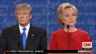 Screenshot of first 2016 general election presidential debate.