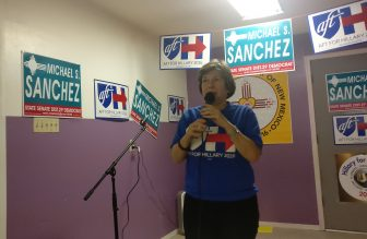 AFT National President Randi Weingarten speaking in support of Senate Majority Leader Michael Sanchez in Belen.