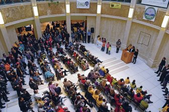 Hundreds filled the Capitol rotunda during an Immigrant Day rally.