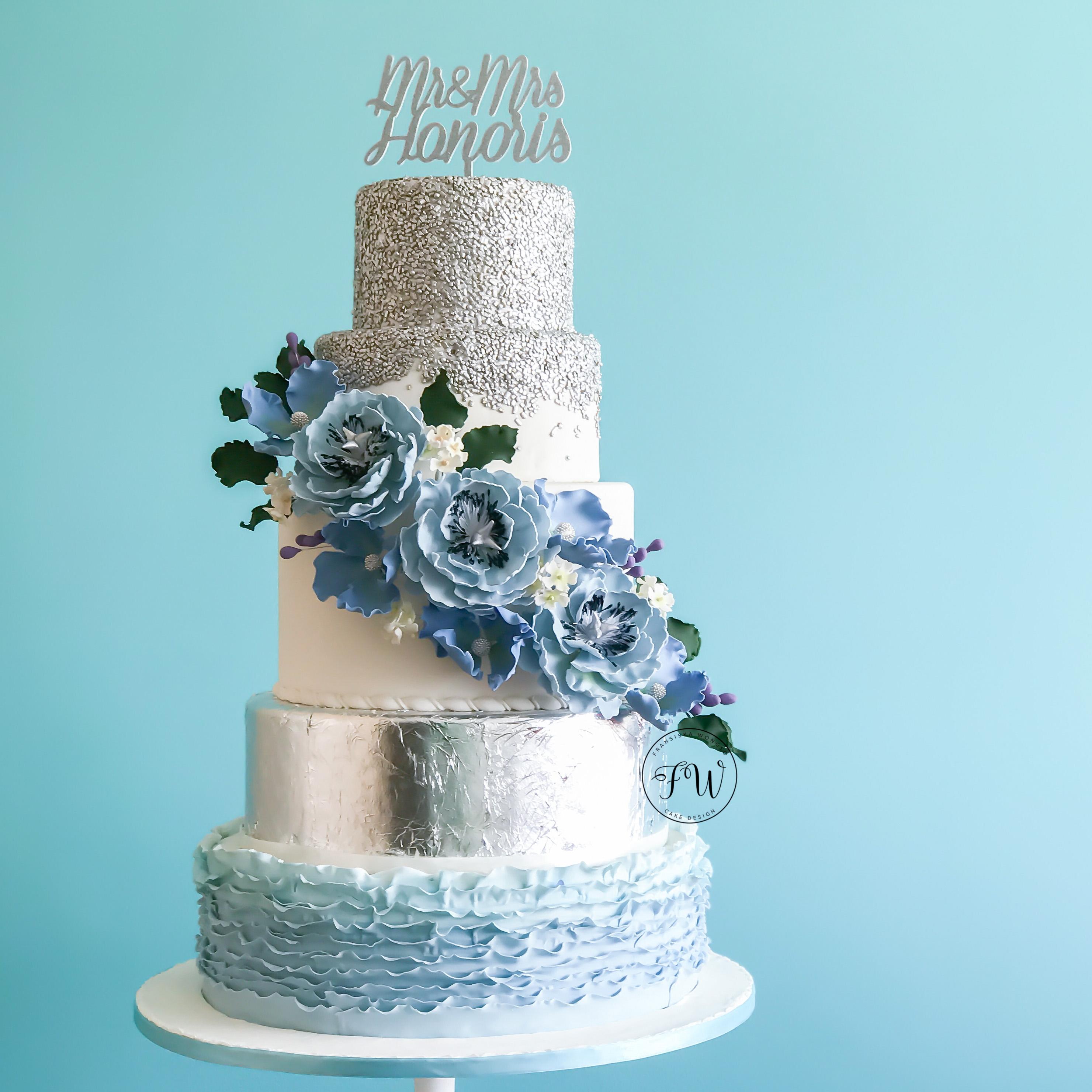 Light Blue Wedding Cake Exploring Mars
