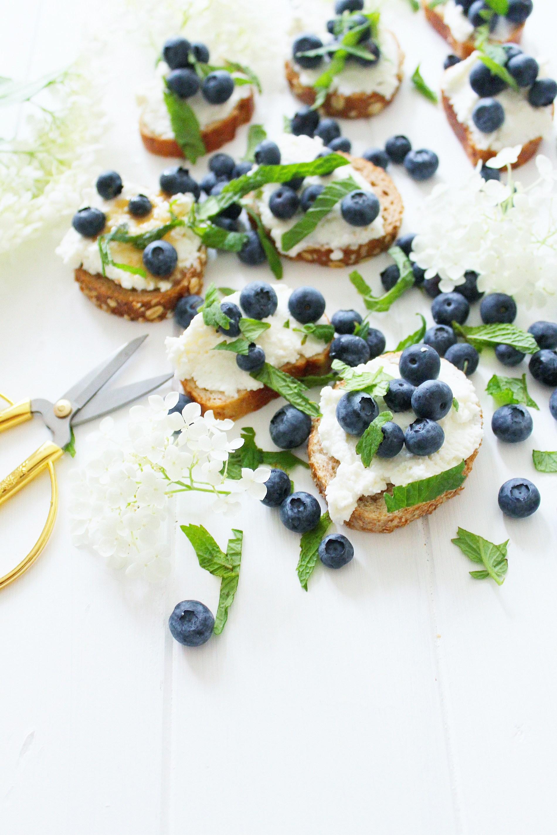 Blueberry Ricotta Crostini with Wildflower Honey