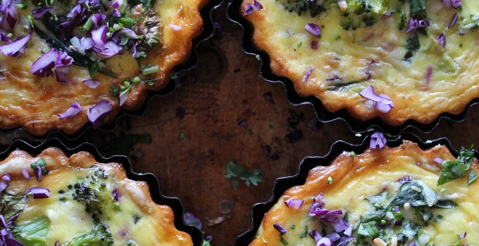 Gluten Free Spinach, Broccoli & Red Cabbage Tarts