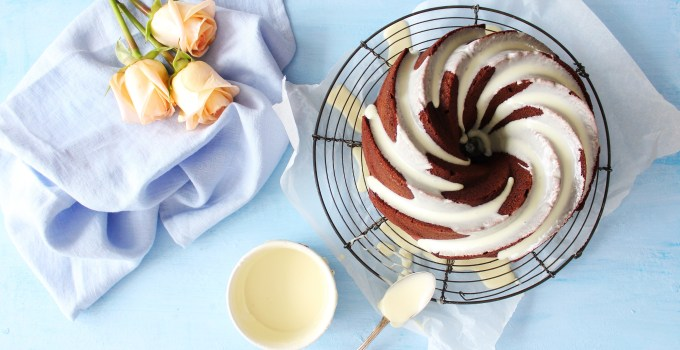 Dark Velvet Bundt Cake with White Chocolate Ganache