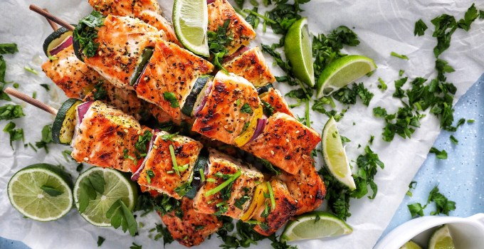 Citrus & Garlic Salmon Skewers