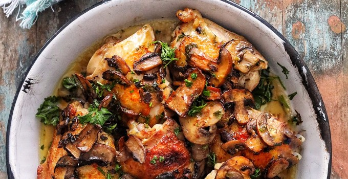Oven Roasted Chicken with Mushrooms and White Wine