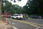 An SUV hit and pinned a biker near Nobel Halls. (ANUSHA MOOKHERJEE / THE STATESMAN)