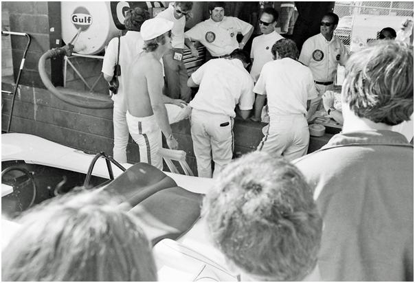 Steve McQueen in pits at 1970 Sebring 12 Hours