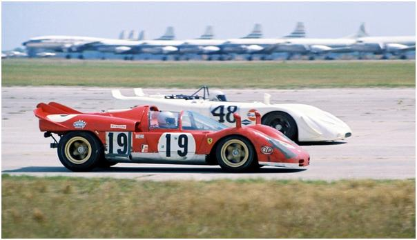 Ferrari 512s of Mario Andretti and Arturo Merzario, Porsche 908/02 of Steve McQueen and Peter Revson