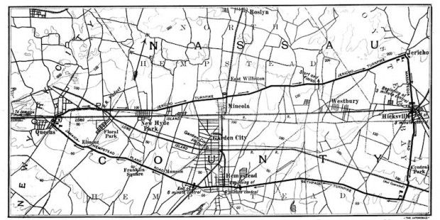 The 1904 Vanderbilt Cup was held on public roads in the Nassau County area of Long Island. As you can see, Mineola and Hempstead were in the center of the course with Hicksville at the right end. Compare this with the modern map.