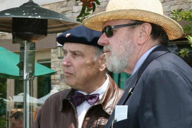 Michael T. Lynch (left) and Somer Hooker at The Quail. Historian/author Lynch is co-emcee at The Motorcycle Gathering.  Hooker is Chief Judge for the event.  Both men have been deeply involved with motorcycling for decades.