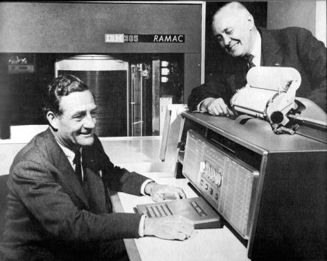 Briggs Cunningham and Alec Ulmann pose for a publicity photo for IBM. SIR photo.