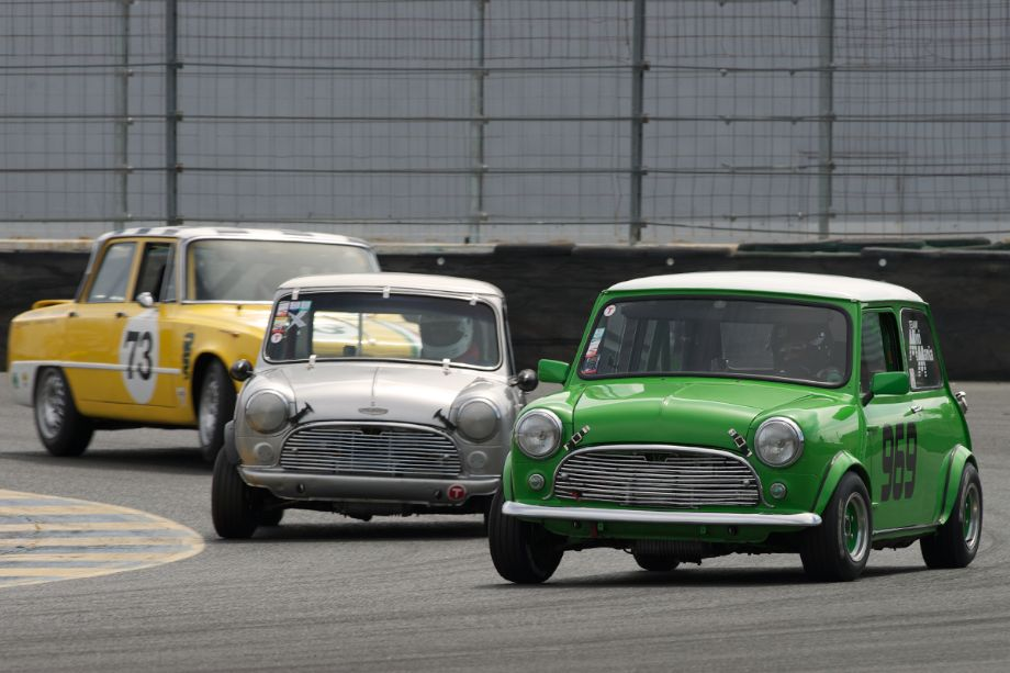 Left to right Frank Zucchi's Alfa Romeo Giulia TI, John Burman's Austin Cooper S, and Julie Racine's Morris Minor Cooper in eleven.