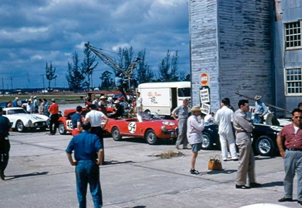 Tech inspection at the 1957 12-Hour Grand Prix of Sebring
