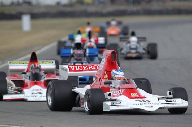 Lola T400 of Andrew Higgins leads Russell Greer's Lola T332