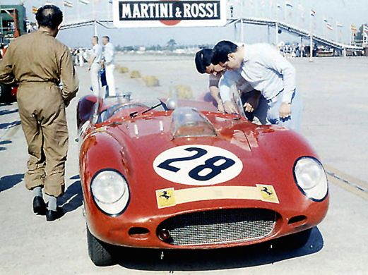 The Rodriguez brothers would team up for the first time at Sebring in 1960 driving this NART Ferrari Dino 196S. BARC boys photo.