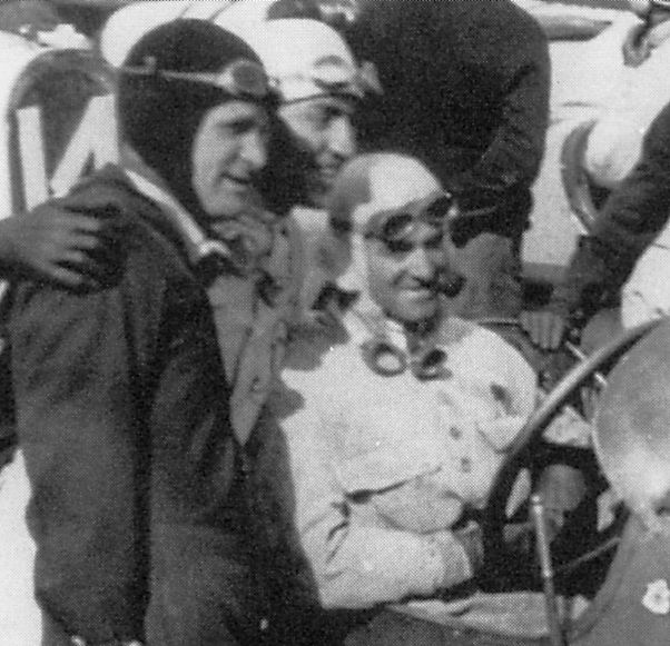 Eddie Rickenbacker (left) giving some advice to Dario Resta (at the wheel). Rickenbacker stripped the gears in his Duesenberg during the November 18, 1916 Grand Prize and failed to finish. Resta won the Vanderbilt Cup on November 16, but also failed to finish in the GP. Rickenbacker won the Medal of Honor flying in WWI.