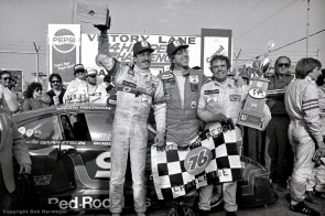 Bobby Rahal, Bob Garretson and Brian Redman celebrate in victory lane after winning the 1981 race by a margin of 13 laps. (photo: Bob Harmeyer)