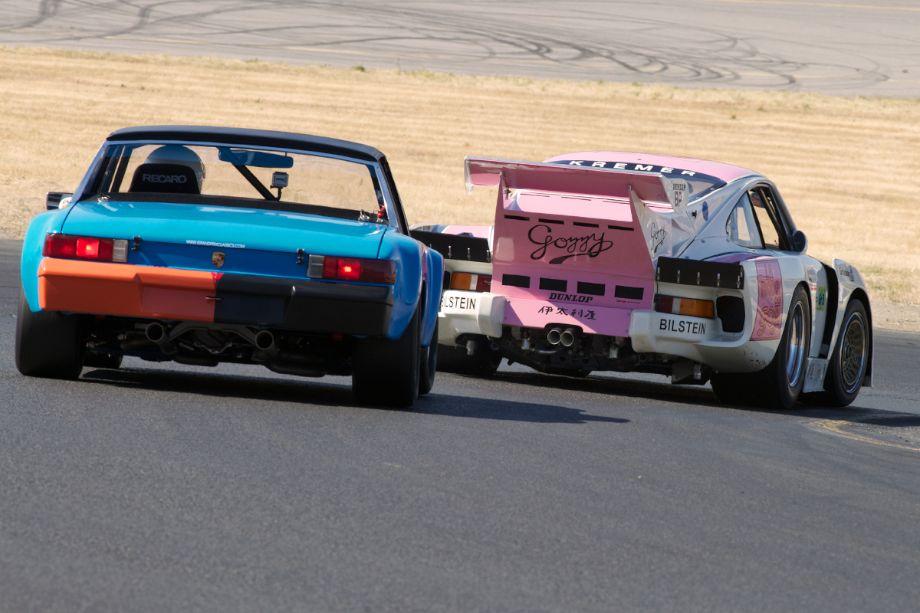 Mark Leonard's Porsche 914/6 follows Ranson Webster's 935 K3 down four.