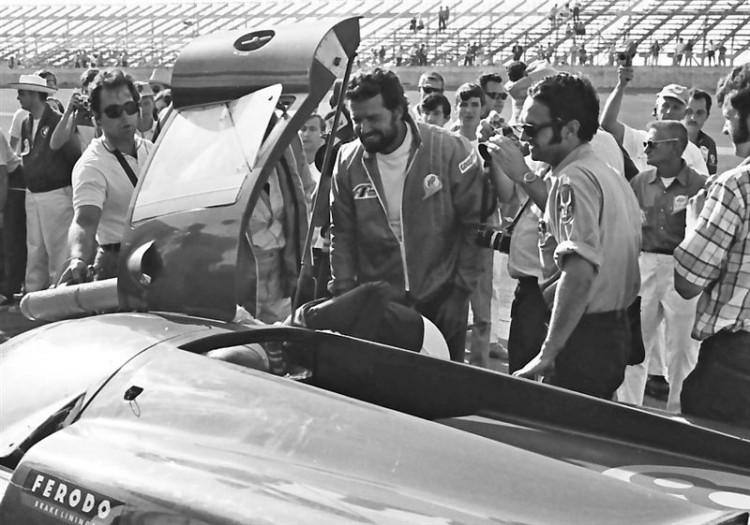 James Garner seeks to offer congratulations to Lothar Motschenbacher after they finished 2nd in the 1969 24-Hours of Daytona.