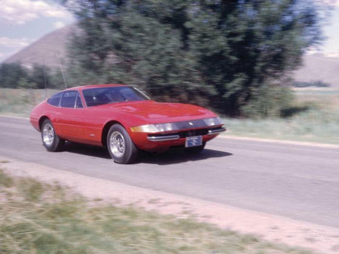1970 Ferrari 365 GTB/4 Daytona Berlinetta in period, visibly showing its Nevada license plate and Plexiglas headlights (photo: Road & Track)