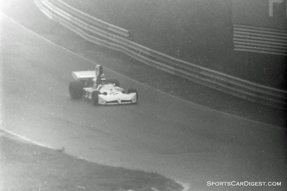 James Hunt at a foggy Mosport