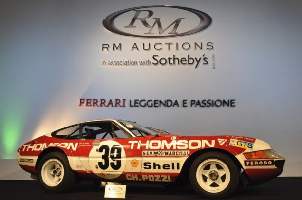 <strong>1973 Ferrari 365 GTB 4 Competizione – Did not sell at high bid of $2,887,500 versus pre-sale estimate of $3,300,000 - $4,000,000. </strong>Chassis # 16363 was the second of the Series III factory competition (12 of 15 total) 365 GTB/4s built. Vic Elford and Claude Ballot-Léna drove 16363 to first in class and sixth overall at the 1975 24 Hours of Le Mans. Currently ready to race in original Thomson livery, 16363 is one of the few competition Daytonas to retain all of its original components, including the gearbox and engine.