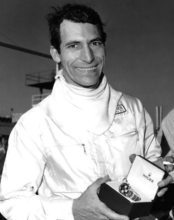 Vic holding the Rolex watch that Bill France, Sr. gave him for winning the 1968 24 Hours of Daytona. Elford's winning factory Porsche 907 was co-driven by Jo Siffert and Jochen Neerpasch. ISC Archives/Getty photo.